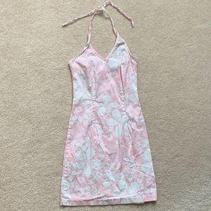 Pink Garage Floral Print Halter Dress